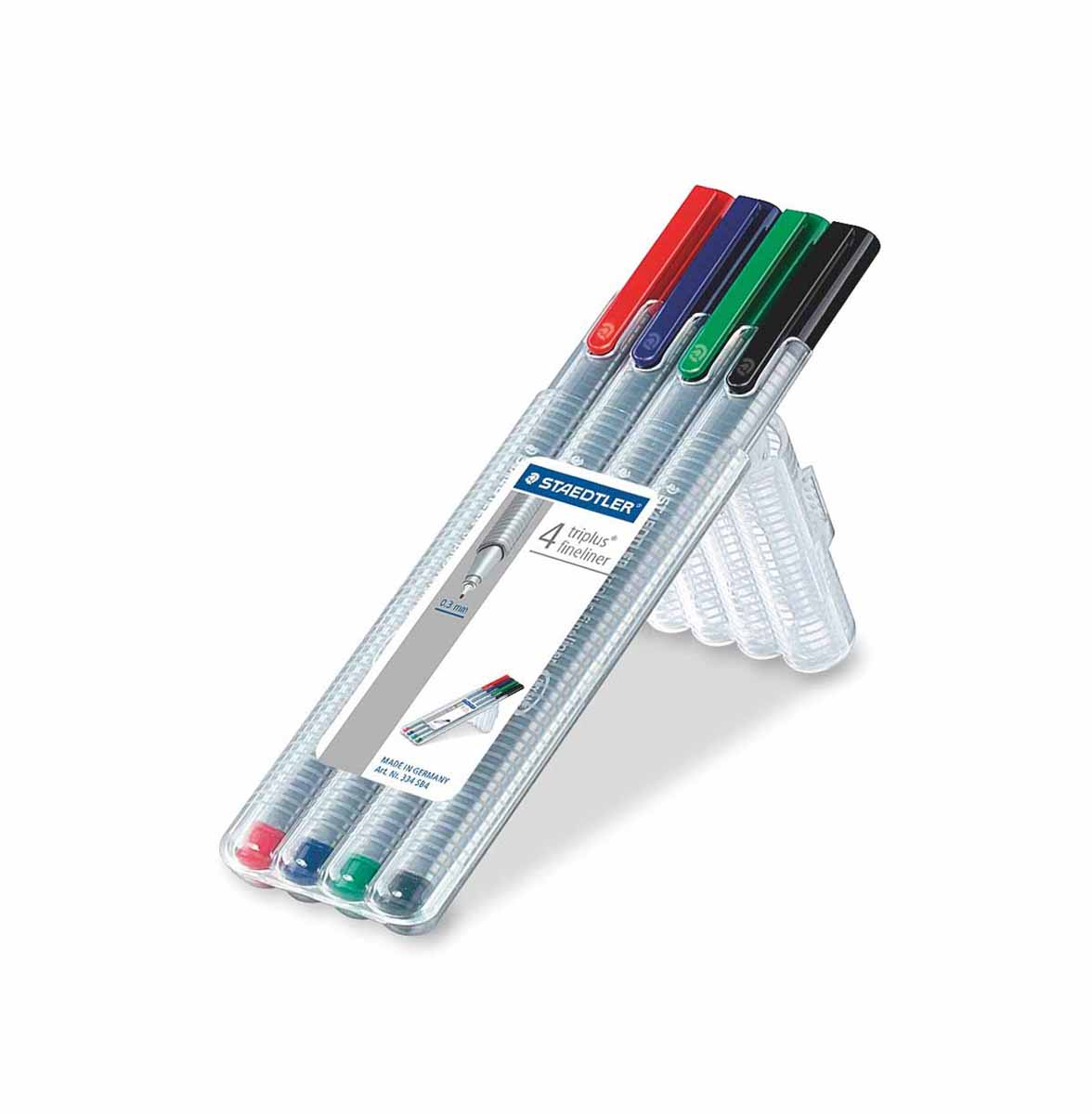 Staedtler Набор капиллярных ручек Triplus 4 цвета334SB4Набор капиллярных ручек Staedtler Triplus идеально подходит для особо легкого и мягкого письма, рисования и черчения. Высокое качество износостойкого пишущего наконечника и большой запас чернил значительно увеличивают срок службы ручки. В набор входят 4 разноцветные капиллярные ручки.