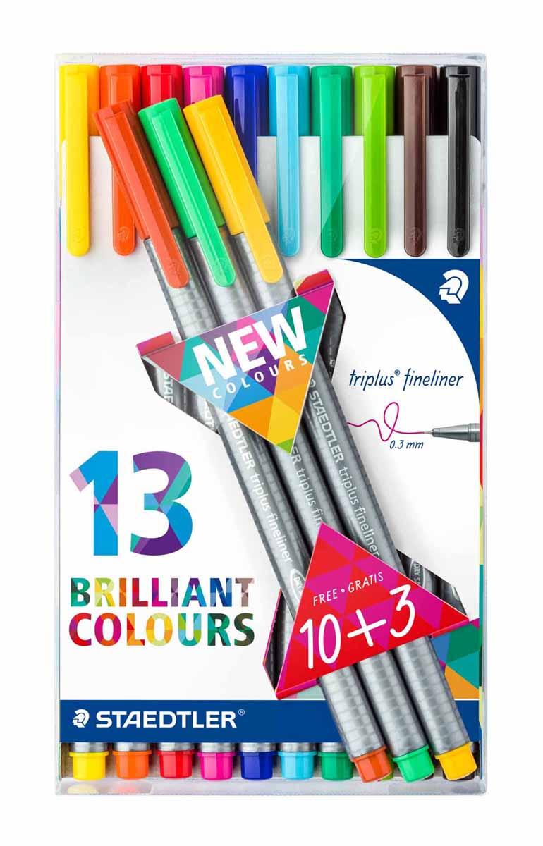 Staedtler Набор капиллярных ручек Triplus 13 цветов334TB13Набор капиллярных ручек Staedtler Triplus с пишущим узлом повышенной прочности можно использовать как в офисе, так и в школе. Также набор идеально подойдет для творчества. Чернила на водной основе, их легко отстирать с большинства тканей. Толщина линии - 0,3 мм.В набор входят 13 разноцветных ручек.
