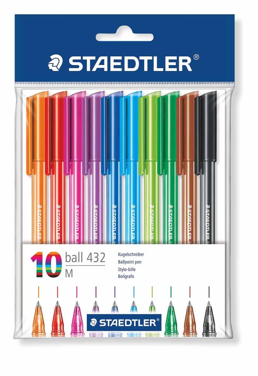 Staedtler Набор шариковых ручек 10 цветов43235MPB10Набор шариковых ручек Staedtler со сменным стержнем отлично подходит для письма и работы с документами. Ручки имеют удобную трехгранную форму и тонкий металлический наконечник. В ручках предусмотрена функция автоматического выравнивания давления, благодаря которой предотвращается утечка чернил во время воздушных перелетов.Оставляют линию толщиной 0.5 мм.Быстросохнущие чернила устойчивы к стиранию, химическим реагентам и влажной среде. В наборе 10 разноцветных ручек.