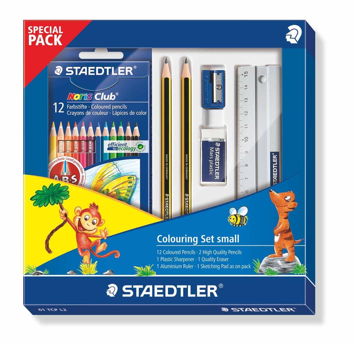 Staedtler Набор для рисования 61TCPL2 17 предметов61TCPL2Цветные карандаши Staedtler Noris Club обладают классической трехгранной формой. Разработанные специально для детей, они имеют мягкий грифель и насыщенные цвета, а белое защитное покрытие грифеля (А·B·S) делает его более устойчивым к повреждению.С цветными карандашами Noris Club ваши дети будут создавать яркие и запоминающиеся рисунки.