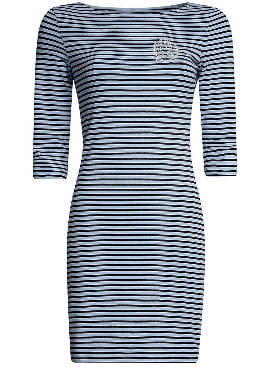 Платье oodji Ultra, цвет: голубой, черный. 14001071-11/46148/7029S. Размер XS (42-170)14001071-11/46148/7029SСтильное платье oodji Ultra, выполненное из эластичного хлопка, отлично дополнит ваш гардероб. Модель мини-длины с вырезом лодочкой и рукавами 3/4 оформлена принтом в полоску и стилизованной под герб вышивкой с надписью Royal Sport Club.