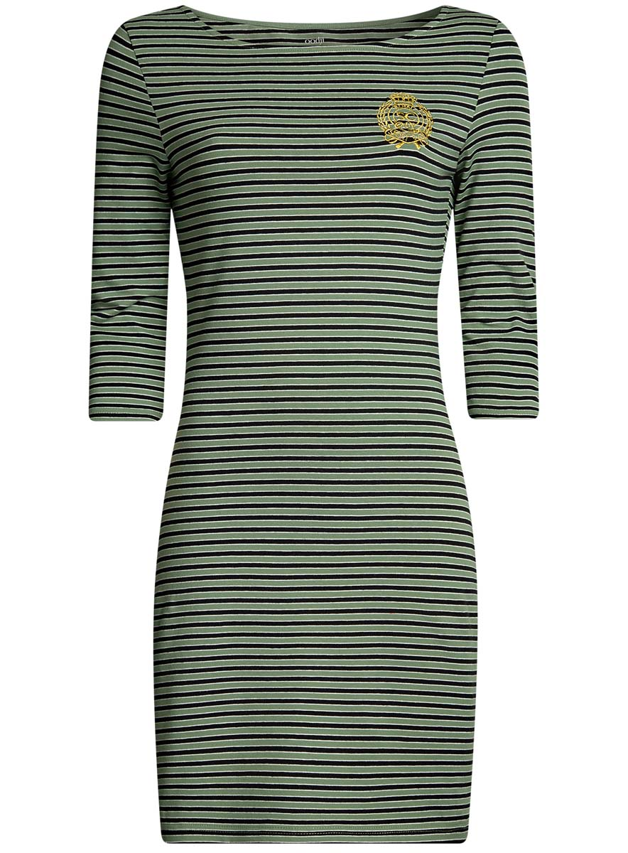 Платье oodji Ultra, цвет: хаки, черный. 14001071-11/46148/6729S. Размер S (44-170)14001071-11/46148/6729SСтильное платье oodji Ultra, выполненное из эластичного хлопка, отлично дополнит ваш гардероб. Модель мини-длины с вырезом лодочкой и рукавами 3/4 оформлена принтом в полоску и стилизованной под герб вышивкой с надписью Royal Sport Club.
