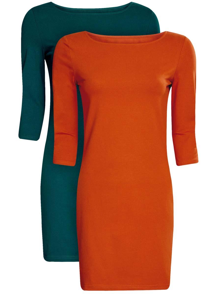 Платье oodji Ultra, цвет: темно-изумрудный, терракотовый, 2 шт. 14001071T2/46148/6E31N. Размер XXS (40)14001071T2/46148/6E31NКомплект из двух мини-платьев oodji Ultra изготовлен из хлопка с добавлением эластана. Обтягивающие платья с круглым вырезом и рукавами 3/4 выполнены в лаконичном дизайне. В комплекте два платья.