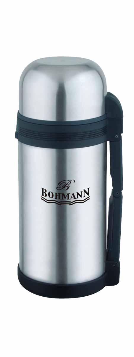 Термос Bohmann, широкое горло, 1,2 л4212BH/б/чехлаДорожный универсальный термос Bohmann из нержавеющей стали подходит для напитков и вторых блюд.Небьющийся. Изолированная крышка с чашкой внутри. Термос имеет складывающуюся ручку и клапан для воздуха. Можно мыть в посудомоечной машине. Объём 1,2 л.