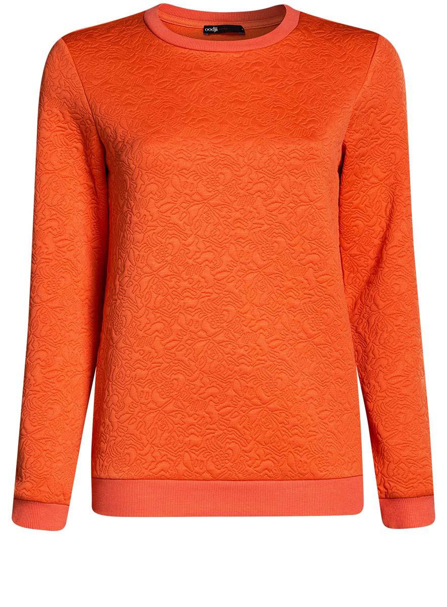 Свитшот женский oodji Ultra, цвет: оранжевый. 14801037-3/46435/5500N. Размер XL (50)14801037-3/46435/5500NСвитшот прямого силуэта с круглым вырезом горловины и длинными рукавами выполнен из фактурной ткани.