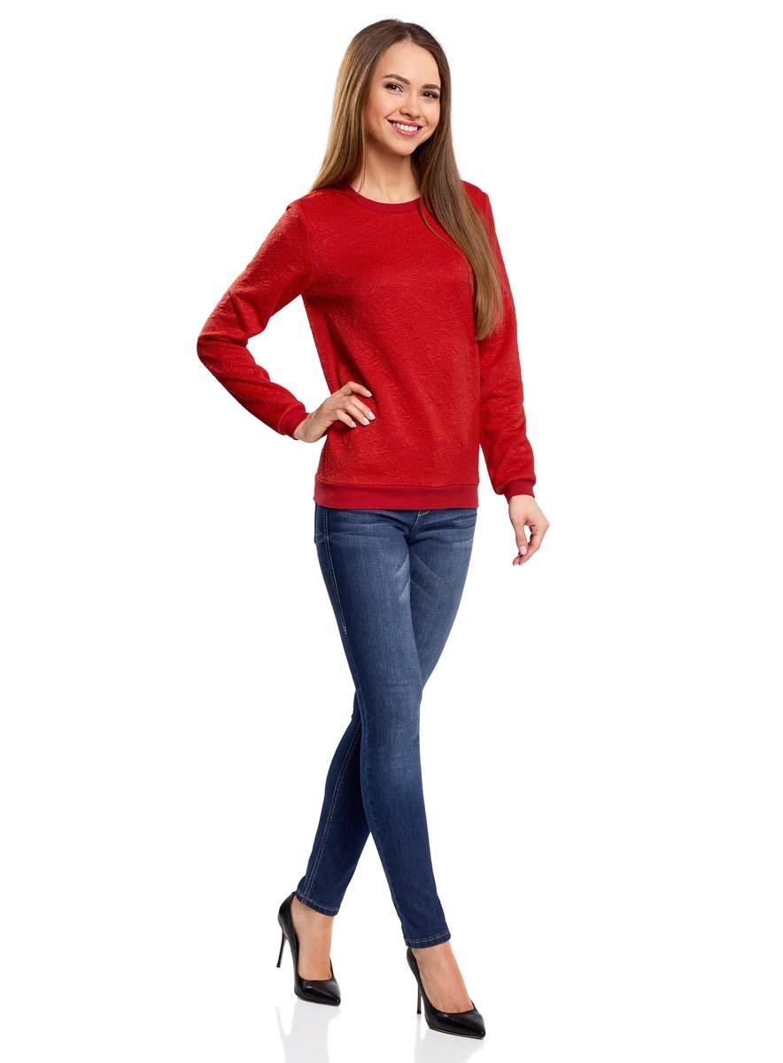 Свитшот женский oodji Ultra, цвет: красный. 14801037-3/46435/4500N. Размер XL (50)14801037-3/46435/4500NСвитшот прямого силуэта с круглым вырезом горловины и длинными рукавами выполнен из фактурной ткани.