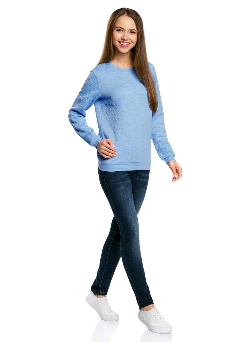 Свитшот женский oodji Ultra, цвет: голубой. 14801037-3/46435/7000N. Размер L (48)14801037-3/46435/7000NСвитшот прямого силуэта с круглым вырезом горловины и длинными рукавами выполнен из фактурной ткани.