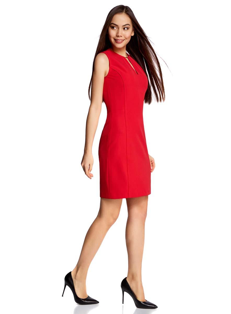 Платье oodji Collection, цвет: красный. 21902066/46414/4500N. Размер 40-170 (46-170)21902066/46414/4500NЭлегантное приталенное платье oodji Collection, выгодно подчеркивающее достоинства фигуры, выполнено из качественного трикотажа. Модель средней длины без рукавов с вырезом-капелькой с декоративным элементомзастегивается на скрытую застежку-молнию на спинке.