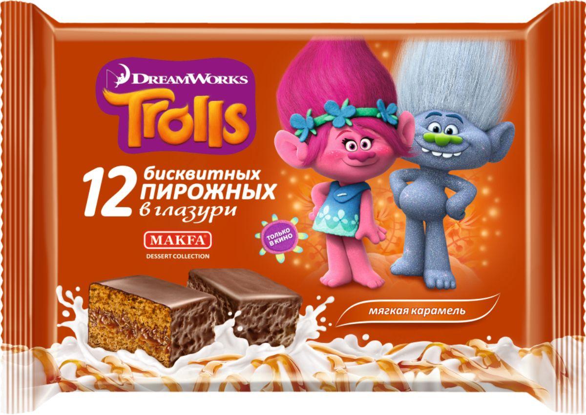 Makfa Trolls пирожное бисквитное Мягкая карамель, 216 г kinder delice пирожное бисквитное покрытое какао глазурью с молочной начинкой 39 г