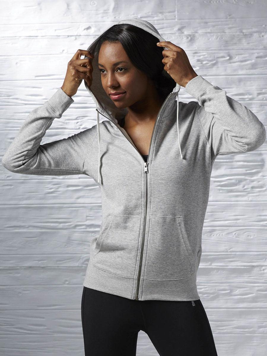 все цены на Толстовка женская Reebok Elements Full Zip, цвет: серый. AJ3771. Размер S (42/44) онлайн