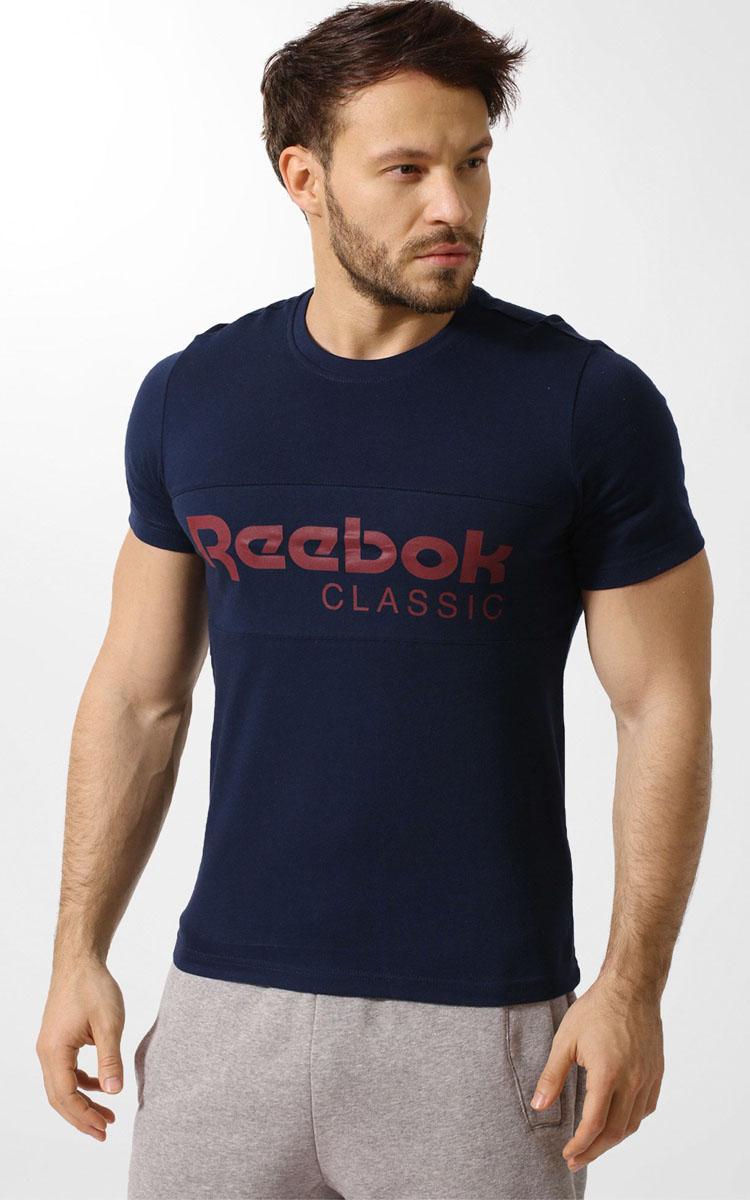 цены на Футболка мужская Reebok F Archive Stripe Te, цвет: синий. BK3839. Размер L (52/54) в интернет-магазинах