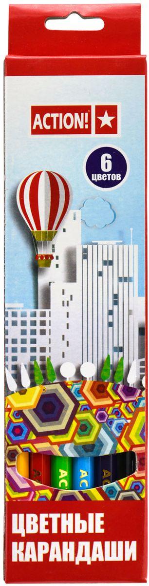 Action! Набор цветных карандашей 6 цветовACP360-6Цветные карандаши Action! откроют юным художникам новые горизонты для творчества, а также помогут отлично развить мелкую моторику рук, цветовое восприятие, фантазию и воображение. Шестигранный корпус карандашей изготовлен из натуральногодерева. Набор включает 6 цветных карандашей с улучшенным грифелем. Практичная картонная коробка обеспечивает удобное хранение карандашей.