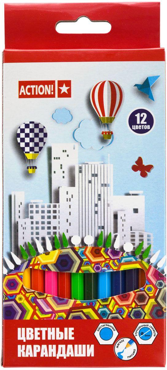 Action! Набор цветных карандашей 12 цветовACP360-12Цветные карандаши Action! откроют юным художникам новые горизонты для творчества, а также помогут отлично развить мелкую моторику рук, цветовое восприятие, фантазию и воображение. Шестигранный корпус карандашей изготовлен из натуральногодерева. Набор включает 12 цветных карандашей с улучшенным грифелем. Практичная картонная коробка обеспечивает удобное хранение карандашей.