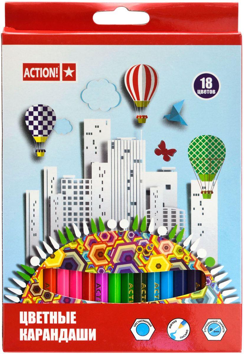 Action! Набор цветных карандашей 18 цветовACP360-18Цветные карандаши Action! откроют юным художникам новые горизонты для творчества, а также помогут отлично развить мелкую моторику рук, цветовое восприятие, фантазию и воображение. Шестигранный корпус карандашей изготовлен из натуральногодерева. Набор включает 18 цветных карандашей с улучшенным грифелем. Практичная картонная коробка обеспечивает удобное хранение карандашей.