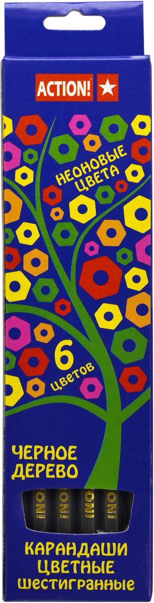 Action! Набор цветных карандашей Неон 6 цветовACP605-6Цветные карандаши Action! Неон откроют юным художникам новые горизонты для творчества, а также помогут отлично развить мелкую моторику рук, цветовое восприятие, фантазию и воображение. Традиционный шестигранный корпус изготовлен из черного дерева.Набор включает 6 карандашей неоновых цветов.