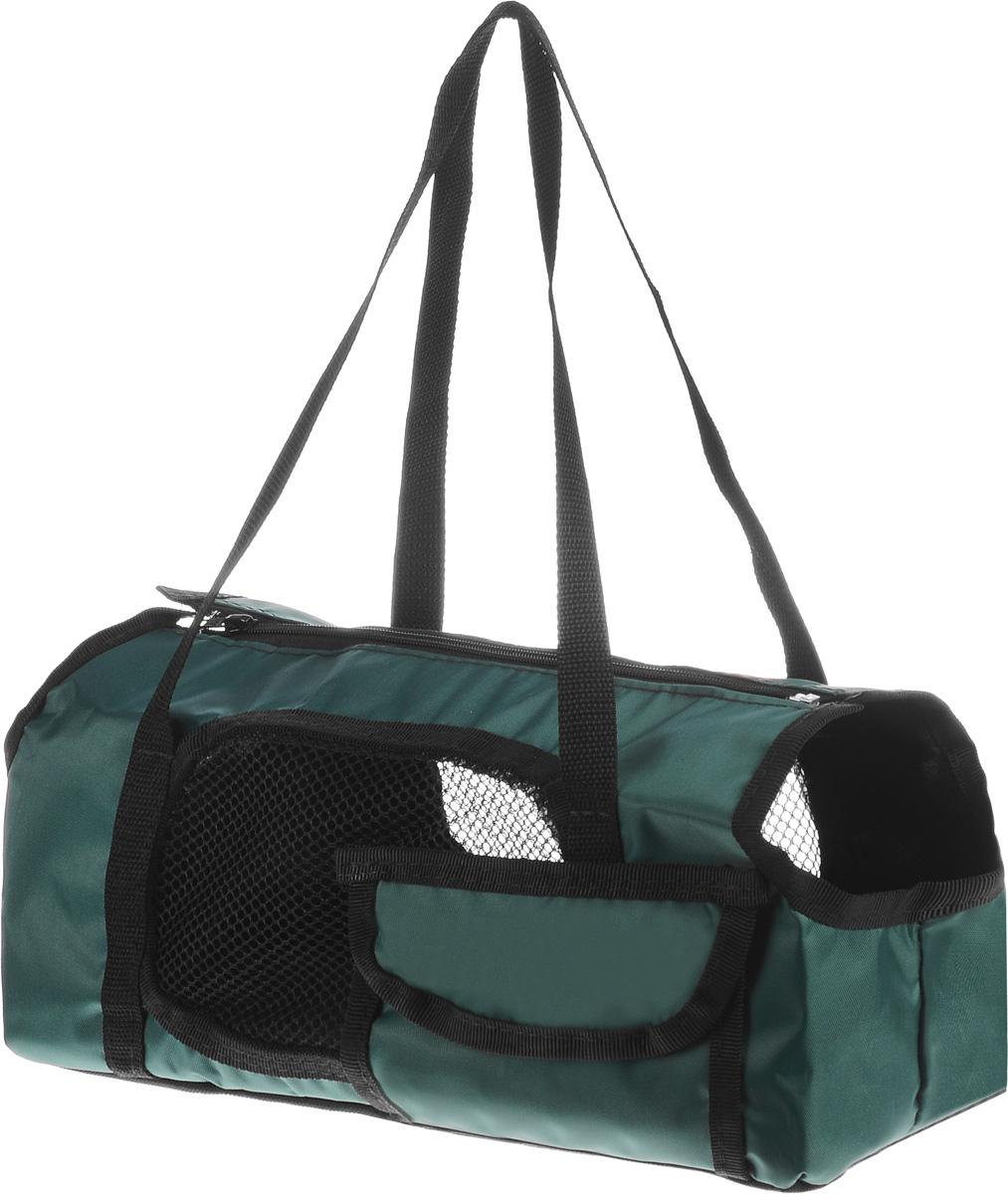 Сумка-переноска для животных Elite Valley  Батискаф , с отверстием для головы, цвет: темно-зеленый, черный, 37 х 14 х 16 см - Переноски, товары для транспортировки