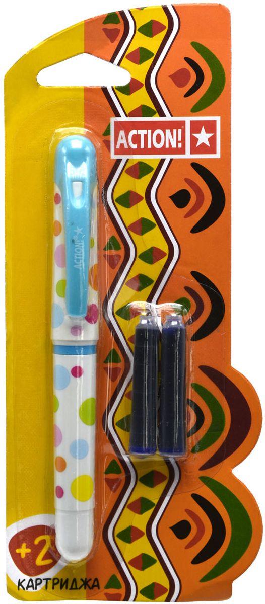 Action! Ручка перьевая с двумя картриджами цвет корпуса белый AFP1001AFP1001Перьевая ручка Action! позволит ребенку почувствовать себя совсем взрослым, а также поможет выработать навыки каллиграфии и исправить неровный почерк.Перьевая ручка Action! с запасными картриджами отличается от взрослых ручек широким пластиковым корпусом и эргономичной зоной захвата. В комплекте три чернильных картриджа - один в ручке и два запасных в блистерном отсеке.