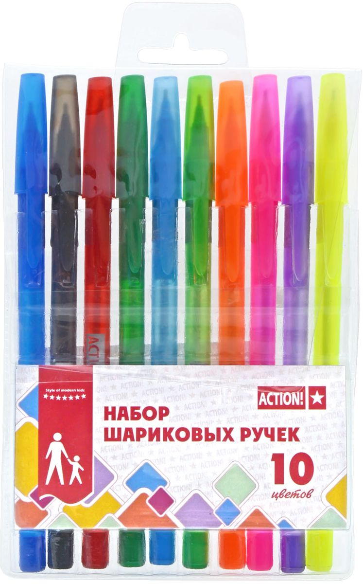 Action! Набор шариковых ручек 10 цветов ABP1004ABP1004Пластиковый цветной матовый корпус в цвет чернил, резиновый упор под пальцы. Диаметр шарика – 0,5 мм. 10 цветов. В ПВХ-пенале с европодвесом.