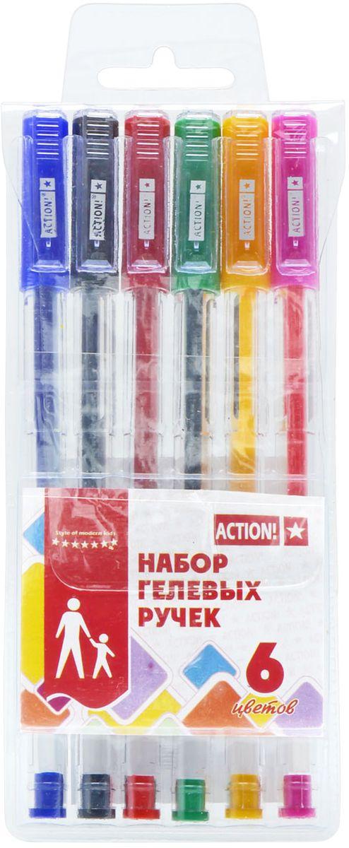 Action! Набор гелевых ручек 6 цветов AGP0601AGP0601Пластиковый прозрачный корпус в цвет чернил. Диаметр шарика – 0,5 мм. 6 цветов. В ПВХ-пенале с европодвесом.