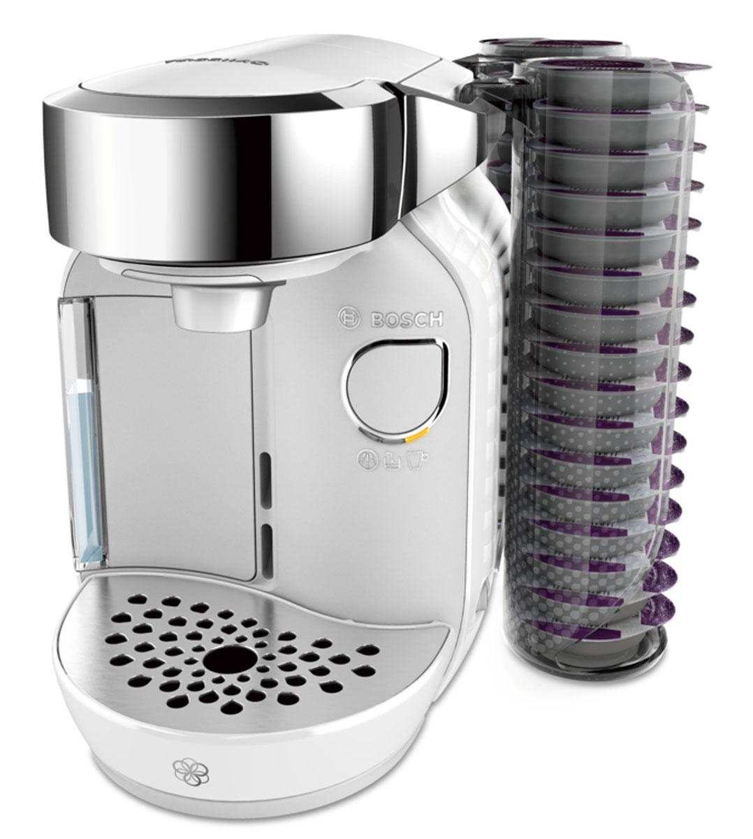 Bosch TAS7004 капсульная кофемашинаTAS7004Когда ваши любимые напитки нужно приготовить быстро, Bosch TAS7004 - неизменно правильный выбор. Кофемашина Tassimo считывает штрих-код, нанесенный на каждую капсулу (Т-диск), и автоматически определяет точную информацию для приготовления идеального напитка: количество воды, время заваривания, температура. Благодаря элегантному дизайну и компактным размерам Bosch TAS7004 станет стильным дополнением вашего дома и будет готовить изысканные напитки почти мгновенно, радуя вас и ваших гостей.Bosch TAS7004 имеет проточный водонагреватель, который обеспечивает быструю готовность к работе, оптимальный режим приготовления выбранного напитка, а также являются энергоэкономичными.Резервуар для воды легко снять и наполнить. Он вмещает до 1,2 л воды. Кофемашина Bosch TAS7004 оснащена программой автоматической очистки и удаления накипи, а также автоматически отключается после цикла заваривания.