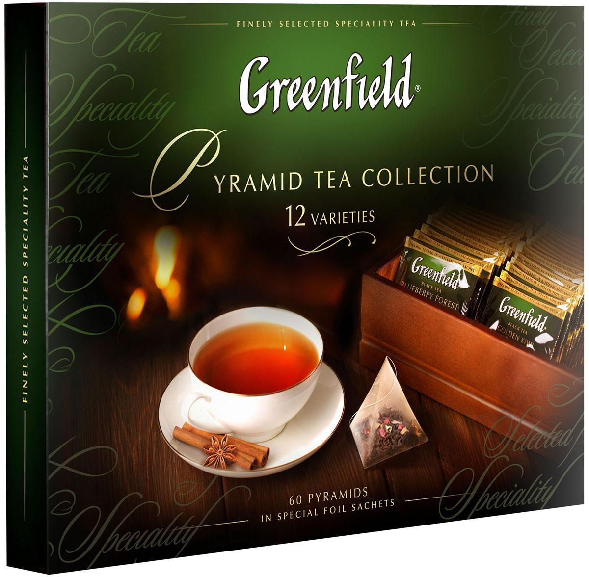 Greenfield Набор листового чая и чайного напитка в пакетиках-пирамидках, 12 видов1241-07В этой коллекции вы найдете превосходные сорта черного и зеленого чая, выращенные на известных плантациях Цейлона, Индии и Китая, а также изысканные композиции, в которых высококачественные чайные листья гармонично сочетаются с натуральными фруктами, ягодами, лепестками цветов и душистыми травами.В наборе 60 пакетиков-пирамидок, каждый из которых упакован в термосаше.