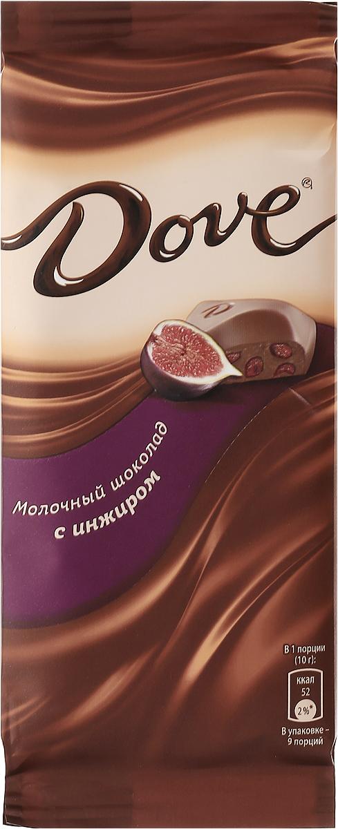Dove молочный шоколад с инжиром, 90 г79004064Молочный шоколад Dove с инжиром нежный, как шелк: такой же обволакивающий, роскошный, соблазнительный. Шоколад изготовлен только из высококачественных, натуральных ингредиентов. Окунитесь в шелковое удовольствие!Уважаемые клиенты! Обращаем ваше внимание, что полный перечень состава продукта представлен на дополнительном изображении.