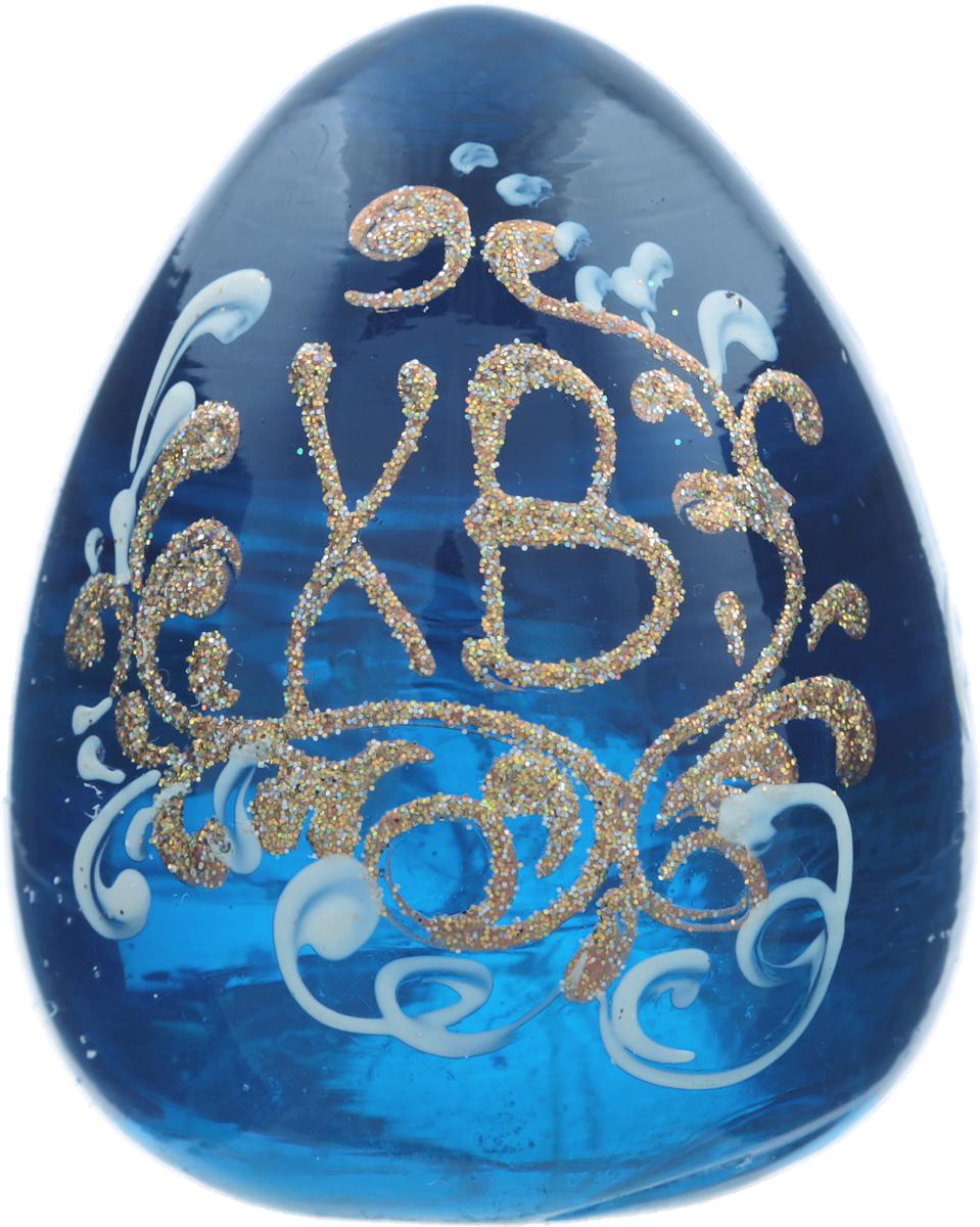 Яйцо пасхальное, авторская работа. Стекло синего цвета, ручная роспись. Россия кулон ангельские цветы огненный агат lampwork ручная авторская работа
