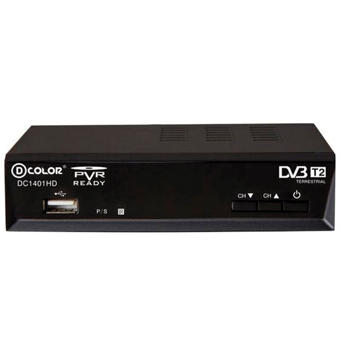 D-Color DC1401HD DVB-T2 цифровой ТВ-тюнер d color dc700hd dvb t2 цифровой тв тюнер