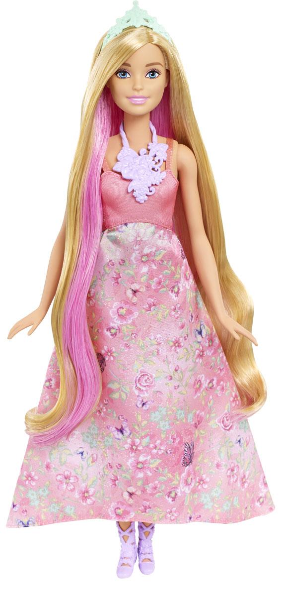 Barbie Кукла Принцесса с волшебными волосами цвет платья светло-коралловый куклы с черными волосами