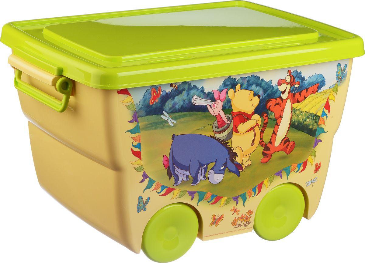 Disney Ящик для игрушек цвет желтый салатовый 45,5 х 32,5 х 28,5 смМ 2550-ДЯркий и оригинальный ящик на колесах с забавными персонажами непременно привлечет внимание ребенка и станет незаменимым для хранения игрушек, книжек и других детских принадлежностей. Он отлично впишется в детскую комнату и поможет приучить ребенка к порядку.У ящика имеются удобные ручки для переноски, а также специальные отверстия, через которые можно продеть тесьму или веревку, чтобы ребенок мог легко передвигать его. Крышка ящика закрывается на защелки. Ящик безопасен благодаря своей форме с закругленными углами.Конструкция замков позволяет фиксировать крышку, что препятствует попаданию пыли, влаги, насекомых.Объем: 24 л.