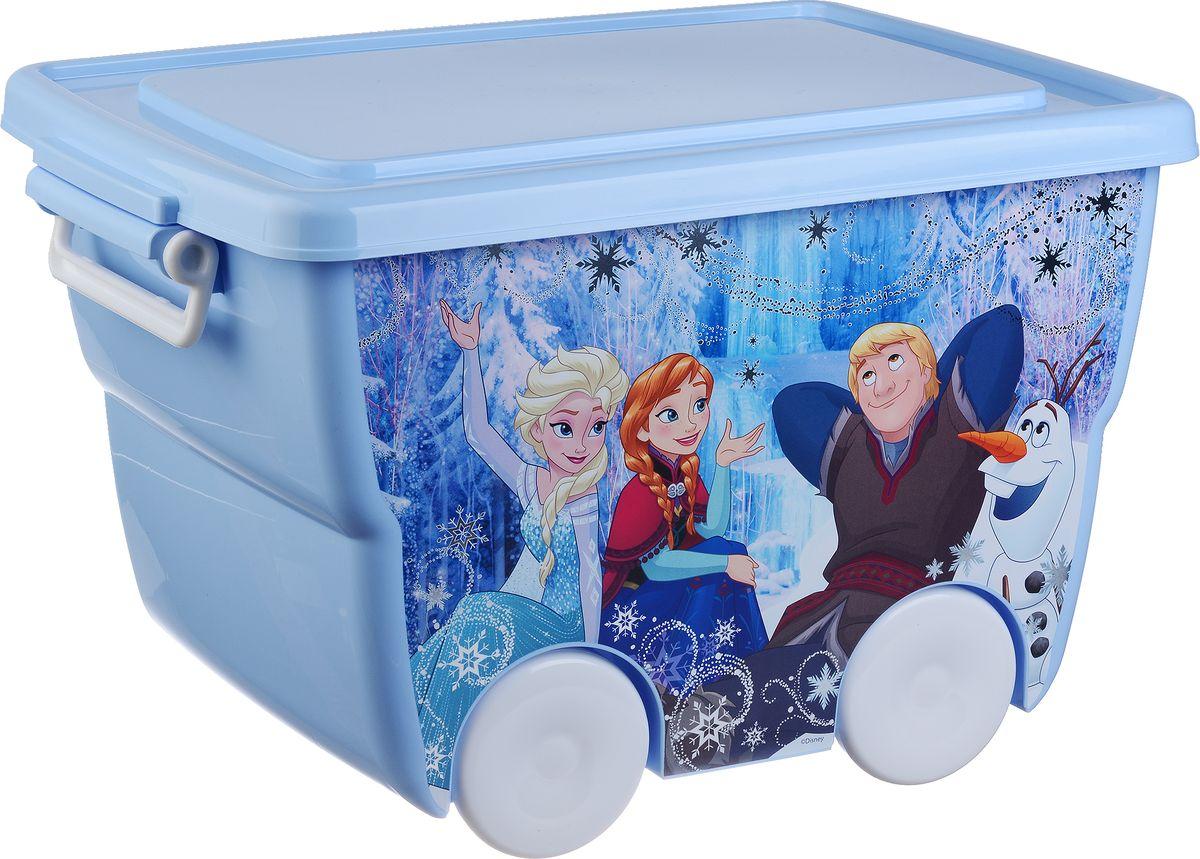 Disney Ящик для игрушек цвет голубой 45,5 х 32,5 х 28,5 смМ 2550-ДЯркий и оригинальный ящик на колесах с забавными персонажами непременно привлечет внимание ребенка и станет незаменимым для хранения игрушек, книжек и других детских принадлежностей. Он отлично впишется в детскую комнату и поможет приучить ребенка к порядку.У ящика имеются удобные ручки для переноски. Крышка ящика закрывается на защелки. Ящик безопасен благодаря своей форме с закругленными углами.Конструкция замков позволяет фиксировать крышку, что препятствует попаданию пыли, влаги, насекомых.