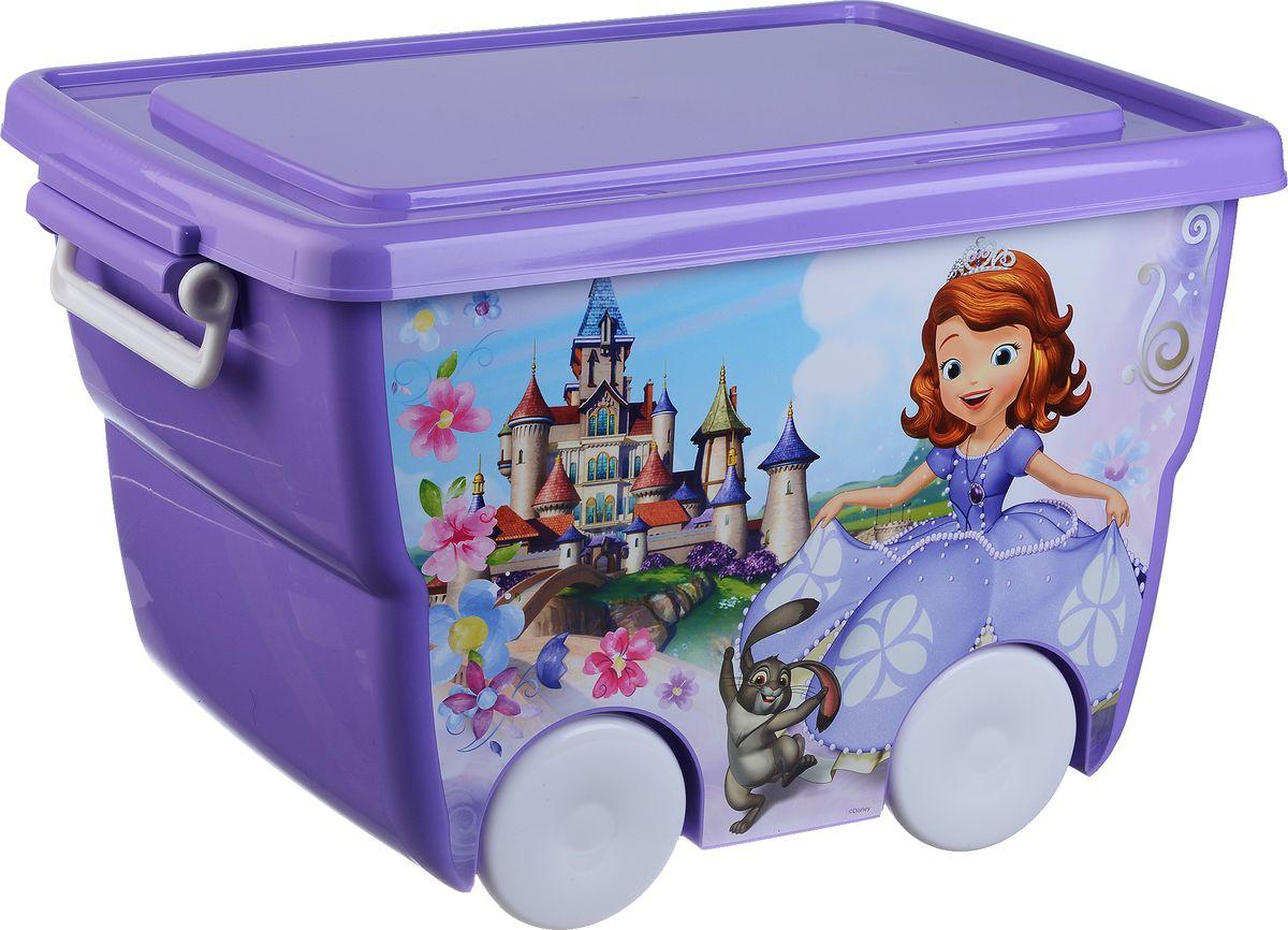 Disney Ящик для игрушек цвет лиловый 45,5 х 32,5 х 28,5 смМ 2550-ДЯркий и оригинальный ящик на колесах с забавными персонажами непременно привлечет внимание ребенка и станет незаменимым для хранения игрушек, книжек и других детских принадлежностей. Он отлично впишется в детскую комнату и поможет приучить ребенка к порядку.У ящика имеются удобные ручки для переноски, а также специальные отверстия, через которые можно продеть тесьму или веревку, чтобы ребенок мог легко передвигать его. Крышка ящика закрывается на защелки. Ящик безопасен благодаря своей форме с закругленными углами.Конструкция замков позволяет фиксировать крышку, что препятствует попаданию пыли, влаги, насекомых.
