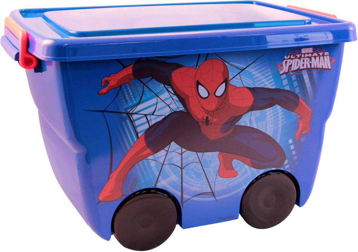 Disney Ящик для игрушек Человек-паук 45,5 х 32,5 х 28,5 смМ 2550-МЯркий и оригинальный ящик на колесах с забавными персонажами непременно привлечет внимание ребенка и станет незаменимым для хранения игрушек, книжек и других детских принадлежностей. Он отлично впишется в детскую комнату и поможет приучить ребенка к порядку.У ящика имеются удобные ручки для переноски, а также специальные отверстия, через которые можно продеть тесьму или веревку, чтобы ребенок мог легко передвигать его. Крышка ящика закрывается на защелки. Ящик безопасен благодаря своей форме с закругленными углами.Конструкция замков позволяет фиксировать крышку, что препятствует попаданию пыли, влаги, насекомых.