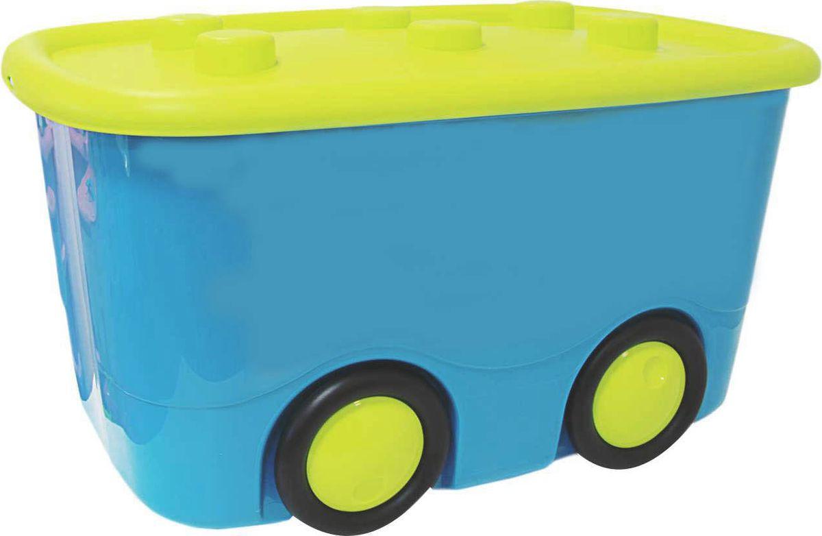 Idea Ящик для игрушек Моби цвет бирюзовый 41,5 х 60 х 32 смМ 2598Ящик для игрушек Idea Моби - лучшее решение для поддержания порядка в детской. Все игрушки собраны в одном месте, а ящик всегда можно с легкостью переместить благодаря четырем колесам. Детский ящик для хранения игрушек имеет надежную крышку.