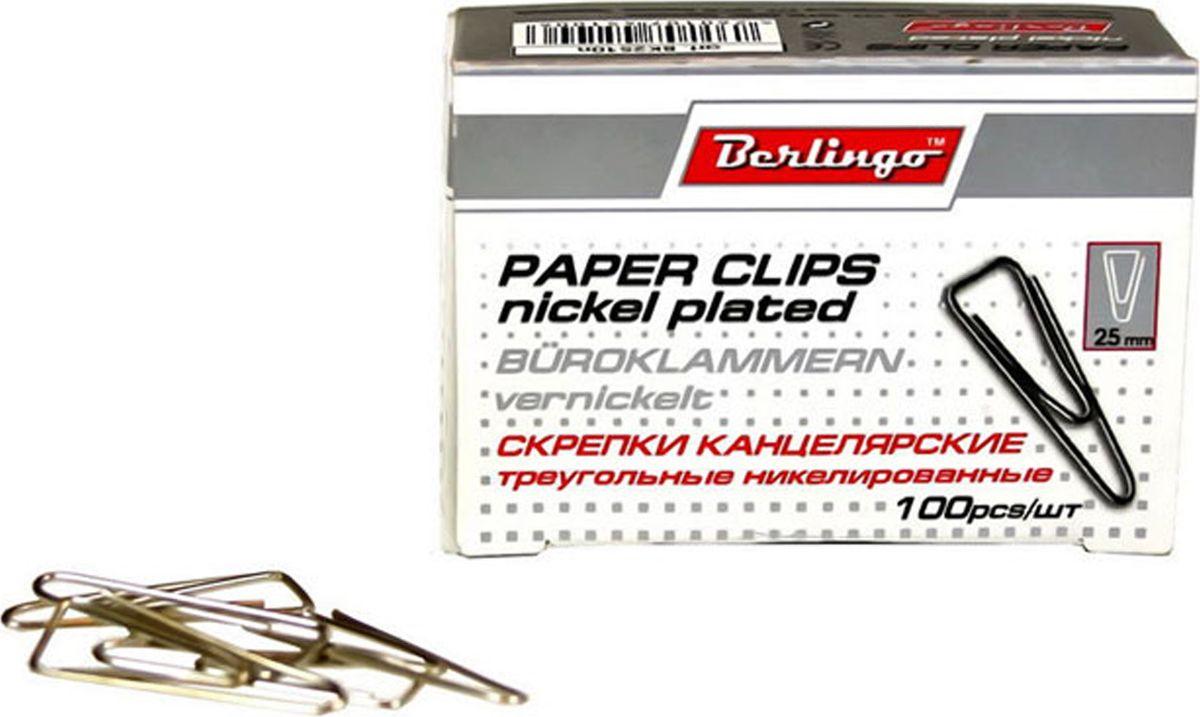 Berlingo Скрепки никелированные треугольные 25 мм 100 шт BK2510nBK2510nНикелированные канцелярские скрепки Berlingo треугольной формы с отогнутым носиком. Не ржавеют, не пачкают бумагу, обеспечивают надежное скрепление.В упаковке 100 штук.