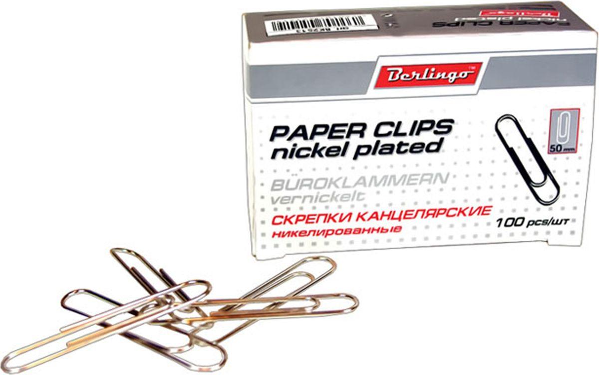 Berlingo Скрепки никелированные 50 мм 100 штBK2513Никелированные канцелярские скрепки Berlingo стандартной круглой формы. Не ржавеют, не пачкают бумагу, обеспечивают надежное скрепление. В упаковке 100 шт.