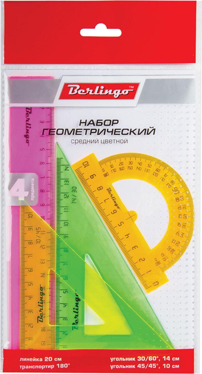 Berlingo Геометрический набор средний цвет прозрачный флуоресцентный 4 предметаRS_00404Геометрический набор Berlingo выполнен из прочного пластика.Набор включает в себя все, что необходимо школьнику: линейку 20 см, треугольник пластиковый 30°, 60°, 11 см, треугольник пластиковый 45°, 45°, 8 см, линейка-транспортир пластиковая 180°.Каждый чертежный инструмент имеет свои функциональные особенности, что делает работу с ними особенно удобной и легкой.