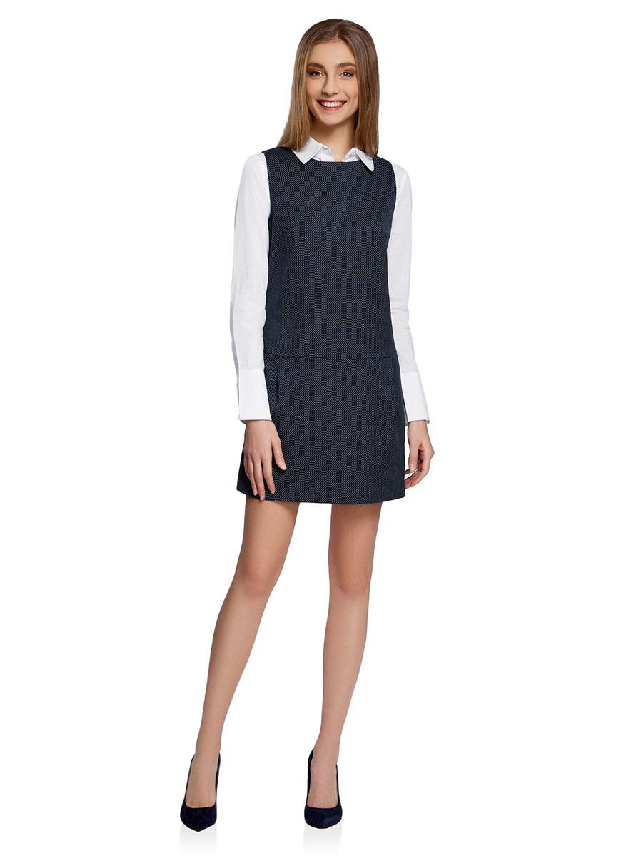Платье oodji Ultra, цвет: темно-синий, белый. 11910072-3/46399/7912D. Размер 36-170 (42-170)11910072-3/46399/7912DЛаконичное платье oodji Ultra выполнено из высококачественного трикотажа с принтом в мелкий горошек.Модель мини-длины без рукавов с круглым вырезом горловины застегивается на короткую молнию на спинке. По бокам платье дополнено двумя втачными карманами.