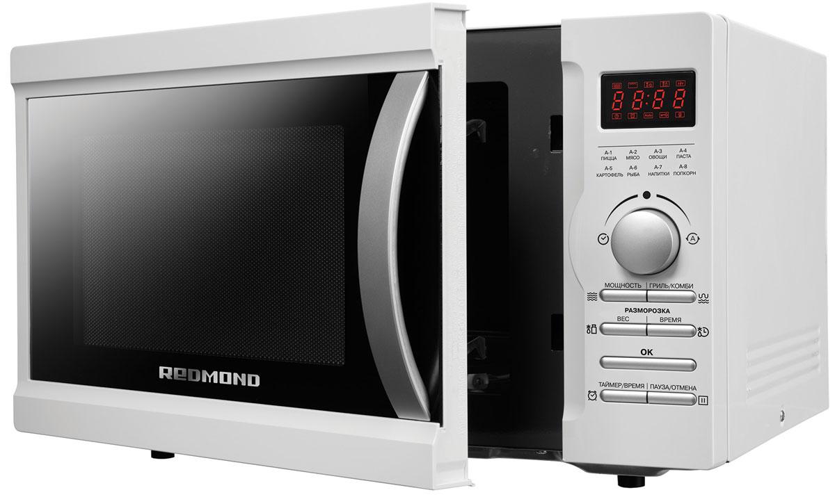 Redmond RM-2501D СВЧ-печьRM-2501DМикроволновая печь 2501D – инновационная модель, позволяющая не только разогревать еду, но и готовить полноценные блюда.В микроволновой печи 2501D предусмотрено 8 автоматических программ. Они позволяют готовить овощные, мясные и рыбные блюда, а такжеварить пасту, картофель, делать напитки и попкорн. В 2501D можно установить нужное время приготовления, задав таймер – до 95 минут.Для разогрева уже приготовленных блюд пригодится Быстрый старт: нужно только поставить емкость с едой внутрь камеры и нажать кнопкуOK. Нагрев будет осуществляться на максимальной мощности.Для правильного и при этом быстрого размораживания продуктов в микроволновке Redmond нужно задать время разморозки и указать веспродукта.Некоторые продукты не требуют дополнительной обработки и после размораживания их можно сразу готовить. Для таких случаев очень полезнойбудет функция поэтапного приготовления. Настройте последовательное выполнение двух режимов, и 2501D сделает все, как вы хотите.За счет действия микроволн для приготовления в микроволновой печи не требуется ни масло, ни вода. Блюда при таком способе термическойобработки получаются вкусными, диетическими и сохраняют свои полезные свойства.Дополнительное преимущество микроволновой печи – режим Гриль. Он позволяет жарить без масла рыбу, сосиски, курицу, шашлыки, а такжеделать хрустящие тосты и бутерброды. Достаточно только выложить продукты на специальную решетку для гриля, которая входит в комплектмикроволновой печи, и включить режим «Гриль». Благодаря грилю продукты в 2501D получаются с золотистой корочкой, как и при обычной жаркена сковороде, но при этом они остаются сочными.Микроволновая печь Redmond имеет вместительную камеру объемом 25 литров с полимерным покрытием SMART SHELL. Оно устойчиво квысоким температурам, механическим повреждениям и коррозии. Покрытие не меняет цвет под действием конденсата, а за его гладкойповерхностью легко ухаживать.Для удобства микроволновая печь 2501D оснащена подсветкой, звук