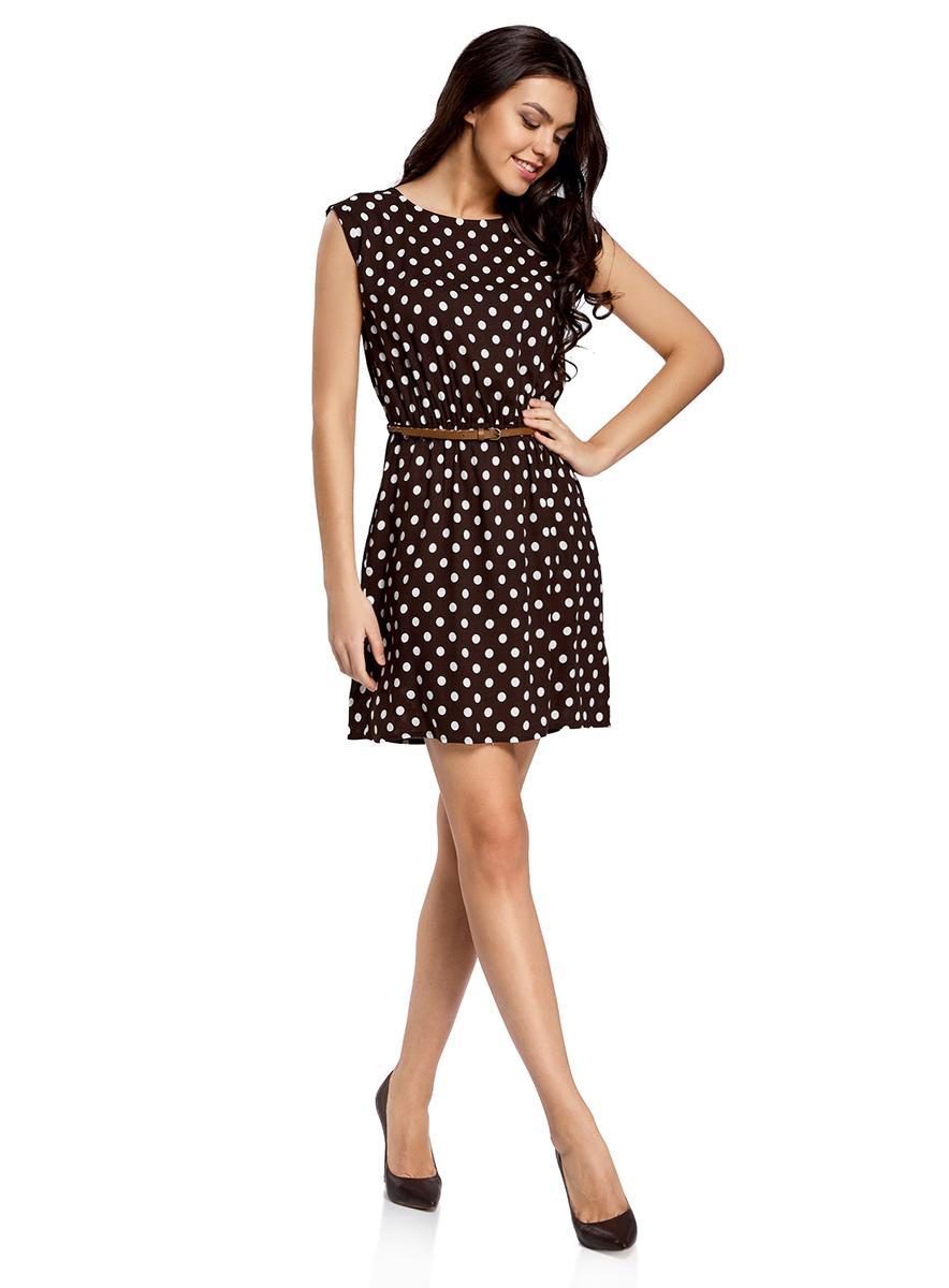 Платье oodji Ultra, цвет: темно-коричневый, белый. 11910073-2/45470/3912D. Размер 38-170 (44-170)11910073-2/45470/3912DПлатье oodji Ultra выполнено из легкой струящейся ткани и оформлено оригинальным принтом. Модель мини-длины с круглым вырезом горловины и короткими рукавами дополнена двумя прорезными карманами на юбке.В комплект с платьемвходит узкий ремень из искусственной кожи с металлической пряжкой.