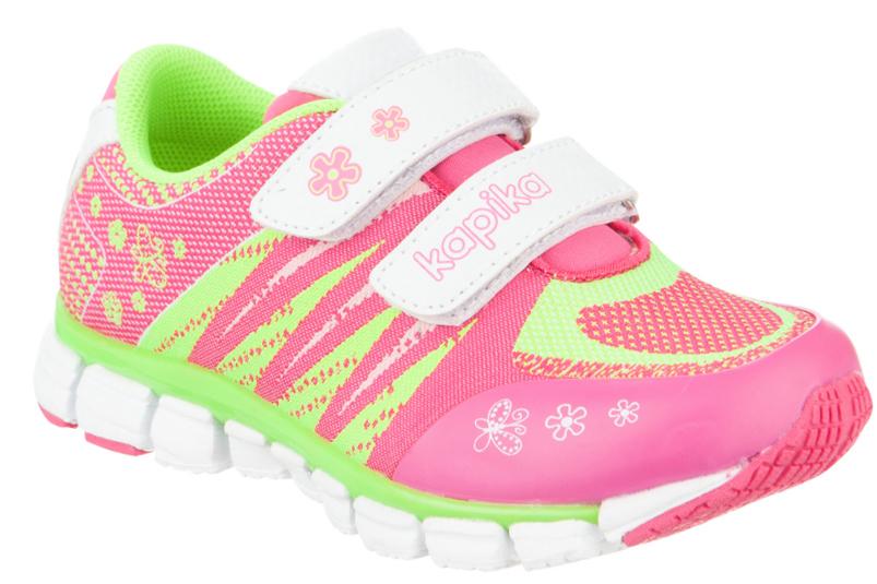 Кроссовки для девочки Kapika, цвет: розовый, салатовый, белый. 73303-1. Размер 31
