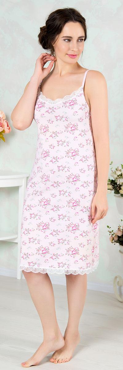 Ночная рубашка женская Mia Cara, цвет: розовый. AW16-MCUZ-841. Размер 50/52AW16-MCUZ-841Ночная рубашка Mia Cara изготовлена из высококачественного хлопка с добавлением эластана. Длину бретелек можно регулировать. Горловина и низ изделия дополнены кружевом.
