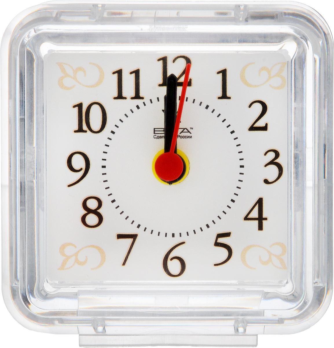 Часы-будильник Вега УзорБ1-025Настольные кварцевые часы Вега Узор изготовленыиз прозрачного пластика. Часы имеют три стрелки -часовую, минутную и стрелку завода. Такие часы красиво и оригинально украсят интерьер домаили рабочий стол в офисе. Также часы могут статьуникальным, полезным подарком для родственников,коллег, знакомых и близких.Часы работают от батарейки типа АА (в комплект невходит). Имеется инструкция по эксплуатации на русскомязыке.