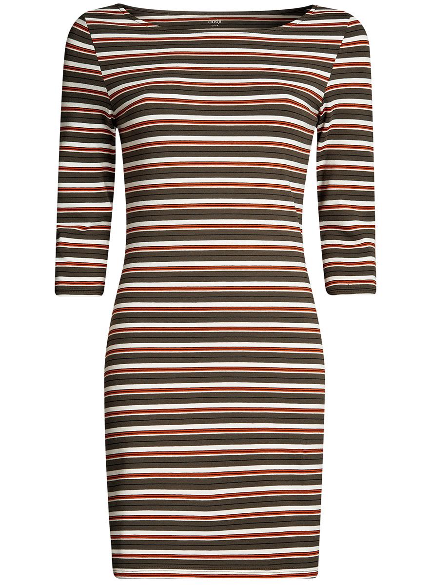 Платье oodji Ultra, цвет: темный хаки, оранжевый. 14001071-2B/46148/6855S. Размер XL (50) хаки xl
