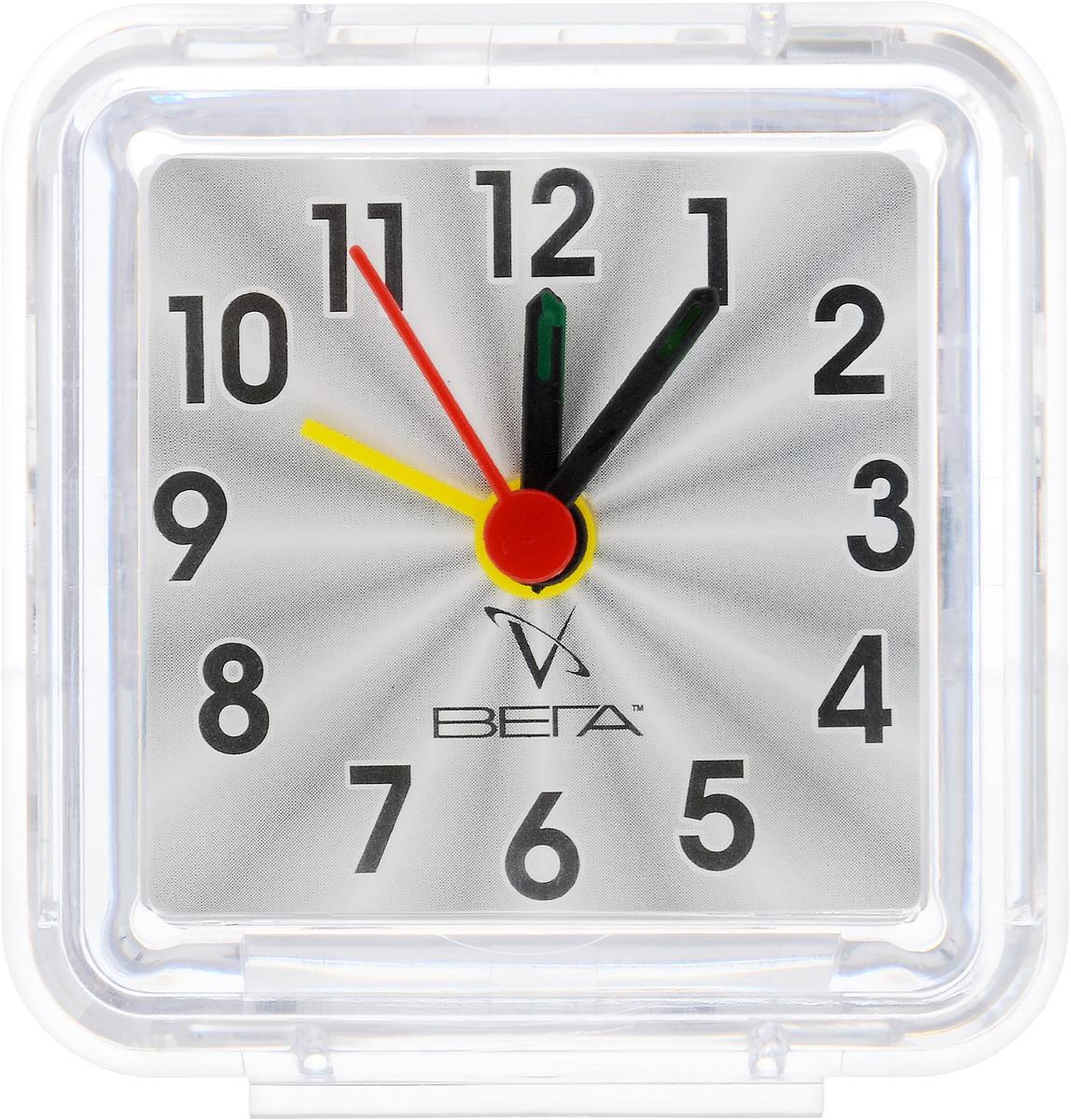 Часы-будильник Вега КлассикаБ1-014Настольные кварцевые часы Вега Классика изготовлены из прозрачного пластика. Часы имеют четыре стрелки - часовую, минутную, секундную и стрелку завода.Такие часы красиво и оригинально украсят интерьер дома или рабочий стол в офисе. Также часы могут стать уникальным, полезным подарком для родственников, коллег, знакомых и близких.Часы работают от батарейки типа АА (в комплект не входит). Имеется инструкция по эксплуатации на русском языке.