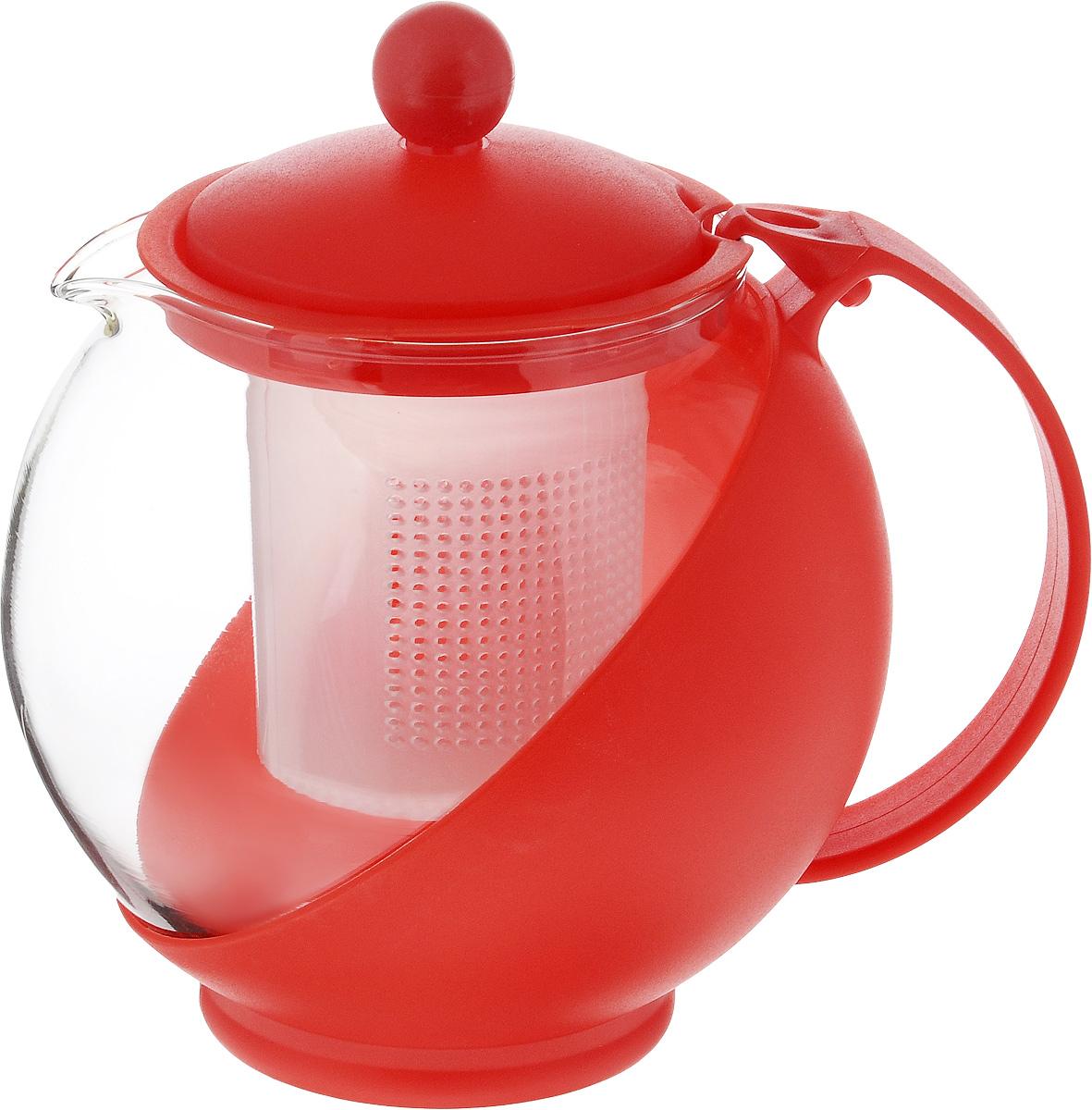 Чайник заварочный Wellberg Aqual, с фильтром, цвет: прозрачный, красный, 750 мл325 WBЗаварочный чайник Wellberg Aqual изготовлен извысококачественного пластика и жаропрочногостекла. Чайник имеет пластиковый фильтр и оснащенудобной ручкой. Он прекрасно подойдет для завариваниячая и травяных напитков.Такой заварочный чайник займет достойное место навашей кухне. Высота чайника (без учета крышки): 11,5 см. Высота чайника (с учетом крышки): 14 см.Диаметр (по верхнему краю): 8 см.