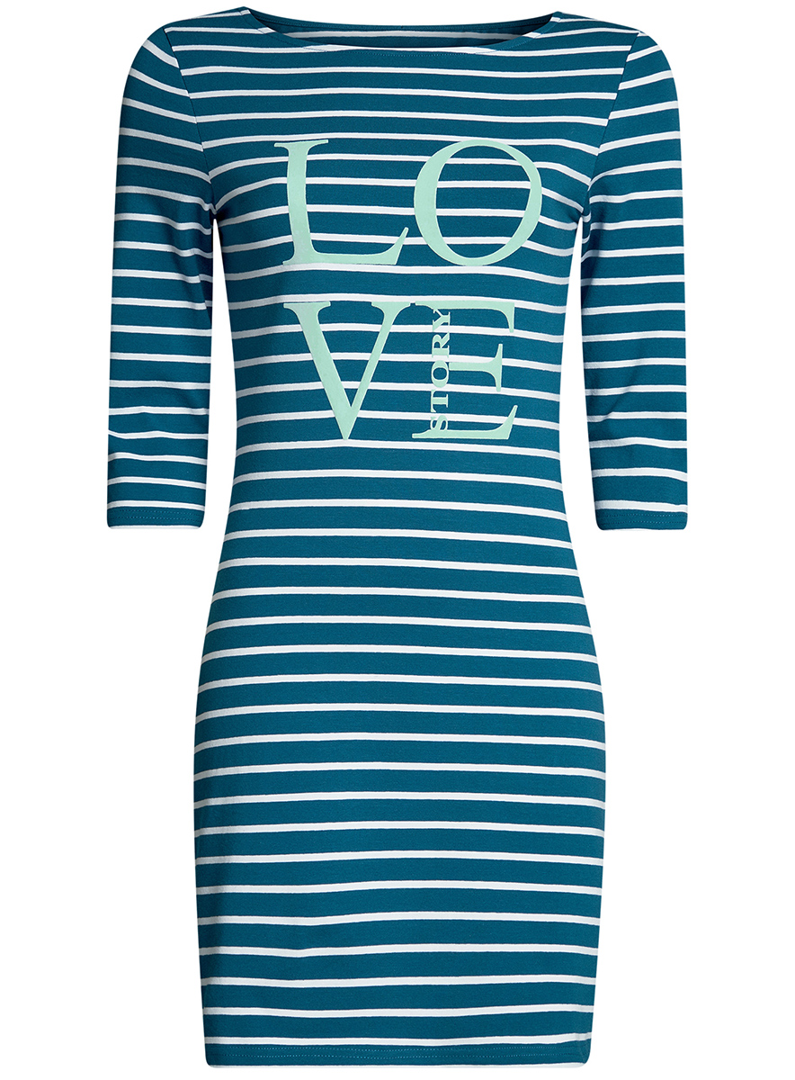 Платье oodji Ultra, цвет: голубой, белый. 14001071-13/46148/7410S. Размер XL (50-170) платье oodji ultra цвет темный хаки оранжевый 14001071 2b 46148 6855s размер xl 50