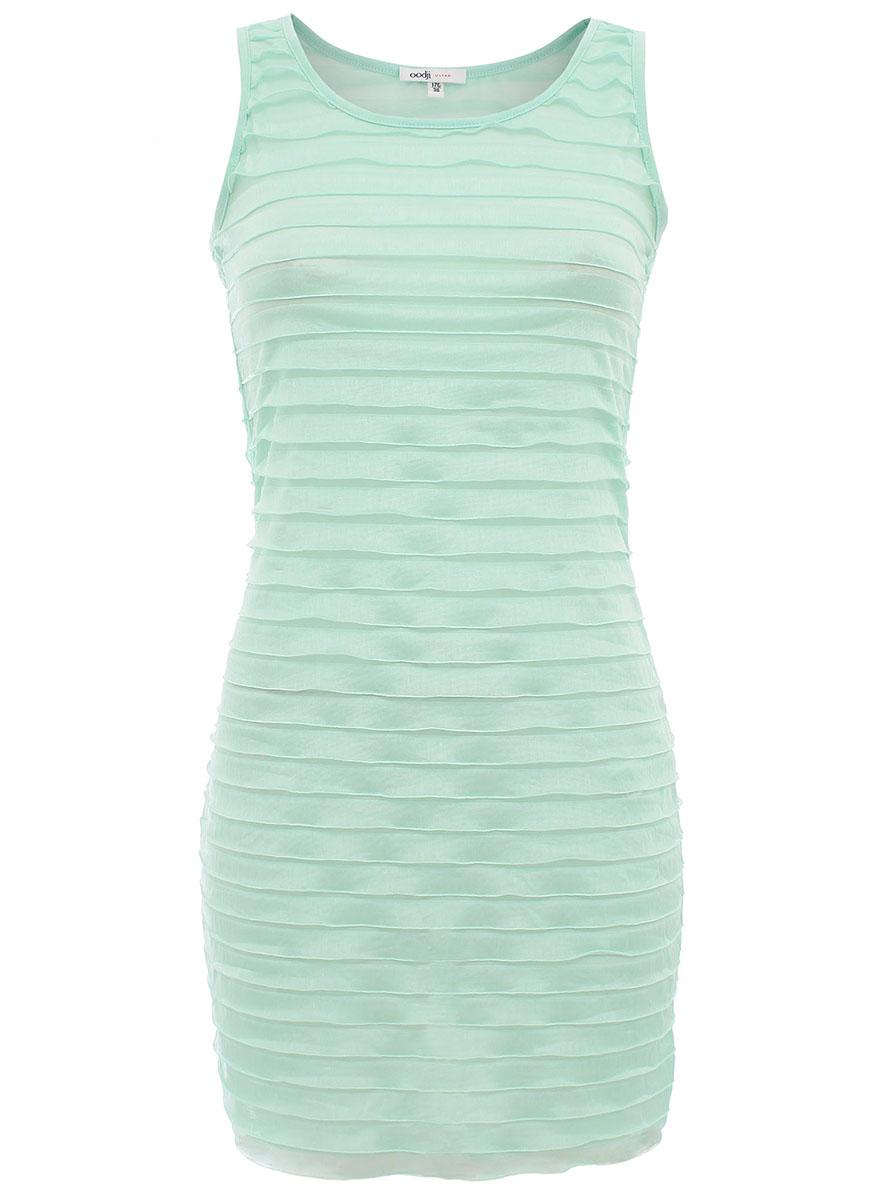 Платье oodji Ultra, цвет: ментоловый. 14005055/18178/6500N. Размер 40-170 (46-170) пуловеры oodji пуловер
