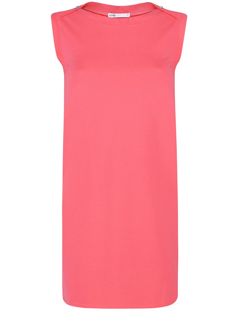 Платье oodji Ultra, цвет: ярко-розовый. 14005074-1B/46149/4D00N. Размер XS (42-170)14005074-1B/46149/4D00NПлатье без рукавов oodji Ultra прямого кроя выполнено из плотной хлопковой ткани пике и оформлено декоративными пуговицами на воротнике. Модель мини-длины с круглым вырезом горловины дополнена двумя прорезными карманамипо бокам юбки.