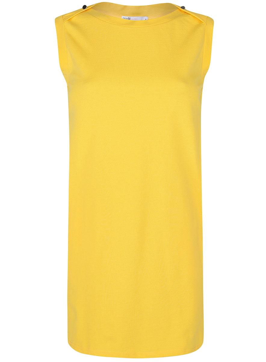 Платье oodji Ultra, цвет: лимонный. 14005074-1B/46149/5100N. Размер L (48-170)14005074-1B/46149/5100NПлатье без рукавов oodji Ultra прямого кроя выполнено из плотной хлопковой ткани пике и оформлено декоративными пуговицами на воротнике. Модель мини-длины с круглым вырезом горловины дополнена двумя прорезными карманамипо бокам юбки.
